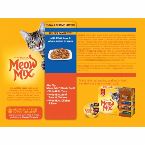 Meow Mix Tender Favorites Tuna & Whole Shrimp Wet Cat Food Variety Pack 12 Count Perspective: back