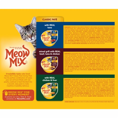 Meow Mix Classic Pate Wet Cat Food Variety Pack Perspective: back