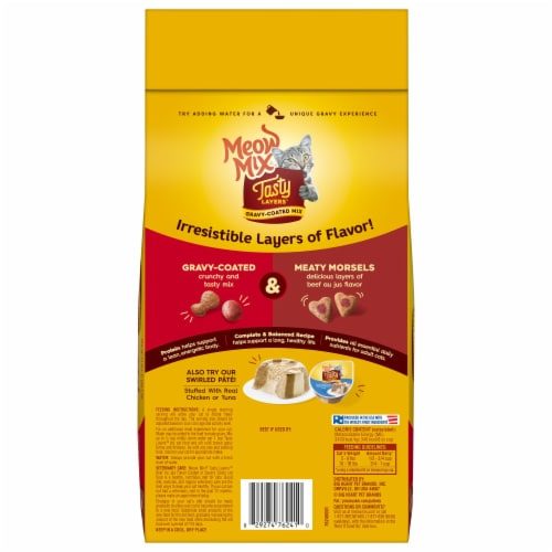 Meow Mix® Tasty Layers Beef Au Jus and Savory Gravy Dry Cat Food Perspective: back