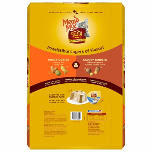 Meow Mix Tasty Layers Roasted Chicken and Homestyle Gravy Flavor Dry Cat Food Perspective: back