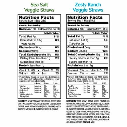 Sensible Portions Veggie Straws Variety Pack (1 Ounce each, 36 Count) Perspective: back