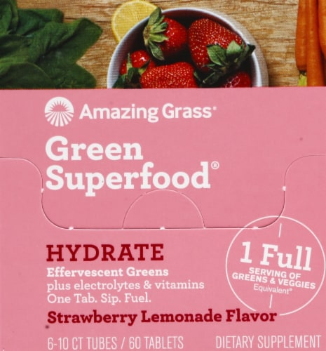 Amazing Grass Green Superfood Hydrate Strawberry Lemonade Effervescent Greens Perspective: back