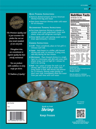 Great American Seafood Raw Peeled & Deveined Tail Off White Shrimp Perspective: back