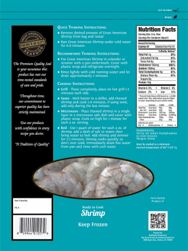 Great American Seafood Raw EZ Peel White Shrimp 31/40 per Pound Perspective: back