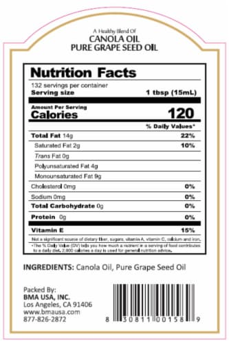 Massimo Gusto Canola Oil Grape Seed Oil Blend Perspective: back