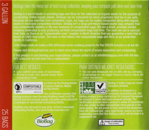 Biobag Compostable Food Waste Bags Perspective: back