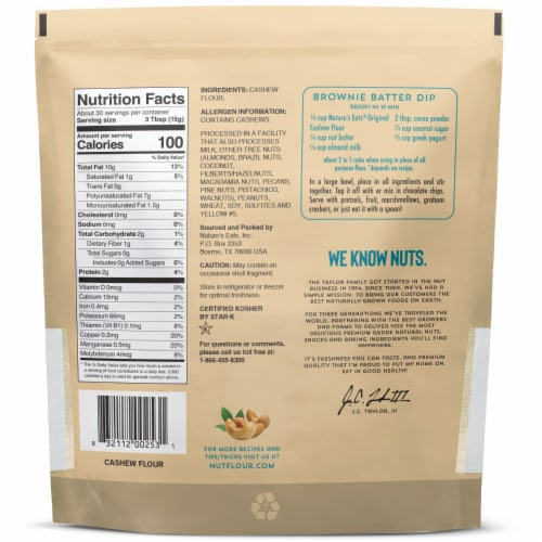 Nature's Eats Finely Ground Cashew Flour Perspective: back