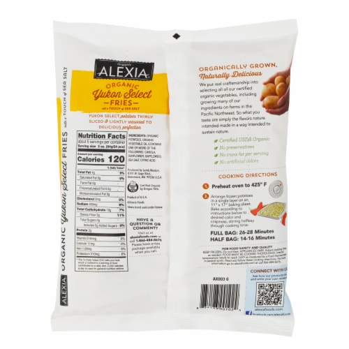 Alexia Organic Yukon Select Sea Salt Fries Perspective: back
