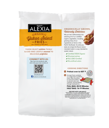 Alexia Organic Yukon Select Fries With A Touch of Sea Salt Perspective: back