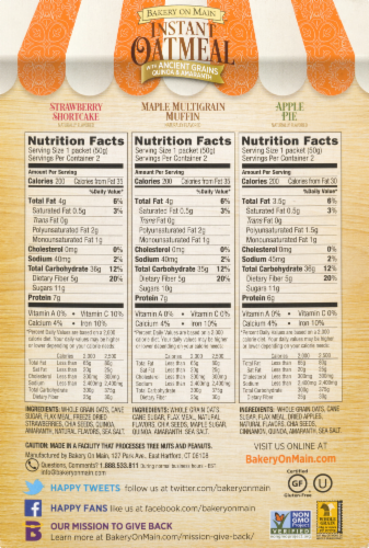 Bakery on Main Gluten Free Instant Oatmeal Variety Pack Perspective: back