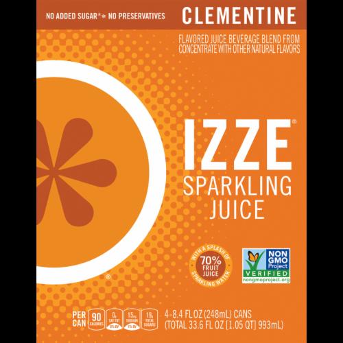 IZZE® Sparkling Juice Beverage Clementine Flavored Juice Drink Perspective: back