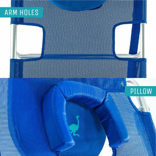 Ostrich 3 N 1 Lightweight Aluminum Frame 5 Position Reclining Beach Chair, Blue Perspective: back