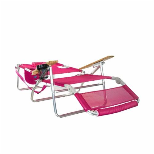 Ostrich 3 N 1 Lightweight Aluminum Frame 5 Position Reclining Beach Chair, Pink Perspective: back