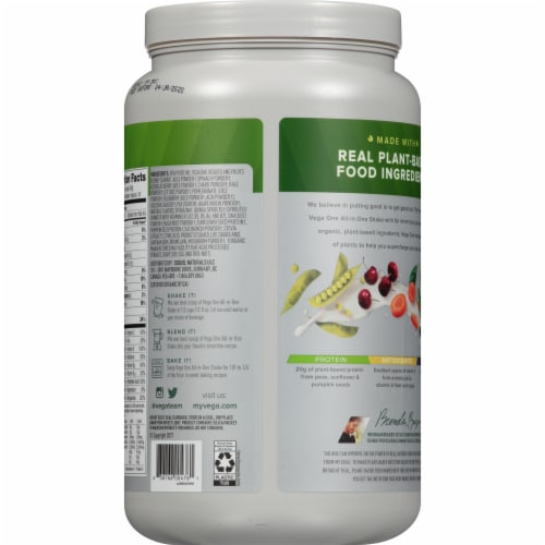 Vega One Organic French Vanilla Flavored All-in-One Shake Drink Mix Perspective: back
