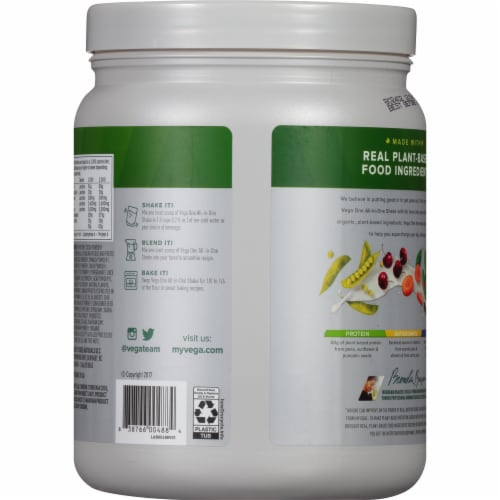 Vega One Organic Chocolate Flavored All-in-One Shake Drink Mix Perspective: back