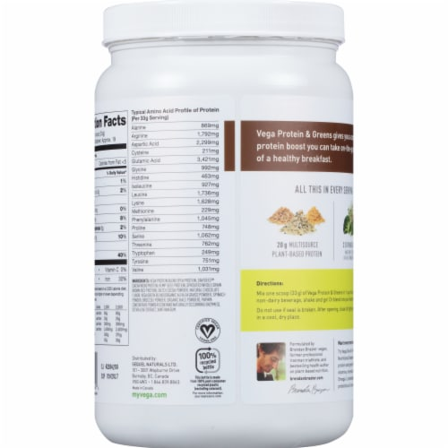 Vega™ Plant-Based Chocolate Protein & Greens Powder Drink Mix Perspective: back