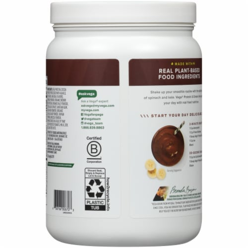 Vega Protein & Greens Plant-Based Chocolate Flavored Drink Mix Powder Perspective: back