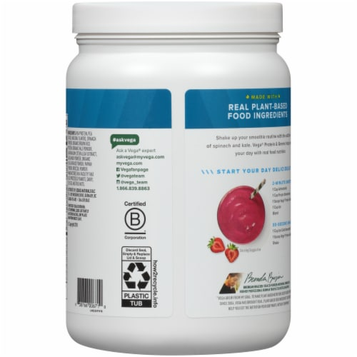 Vega Protein & Greens Plant-Based Vanilla Flavored Drink Mix Powder Perspective: back
