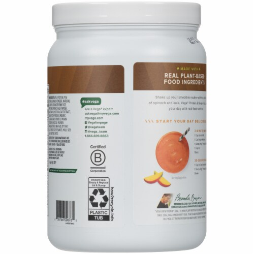 Vega® Protein & Greens Plant-Based Coconut Almond Flavored Drink Mix Powder Perspective: back
