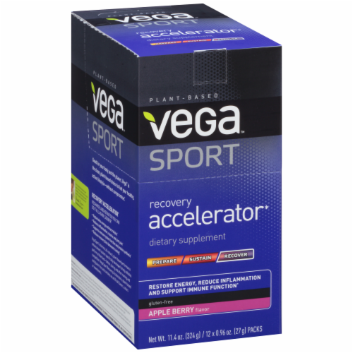 Vega Sport Plant-Based Recovery Accelerator Apple Berry Powder Packs 12 Count Perspective: back