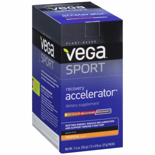 Vega Sport Plant-Based Recovery Accelerator Tropical Powder Packs 12 Count Perspective: back