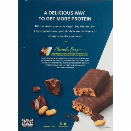 Vega Chocolate Peanut Butter Protein Bars 12 Count Perspective: back