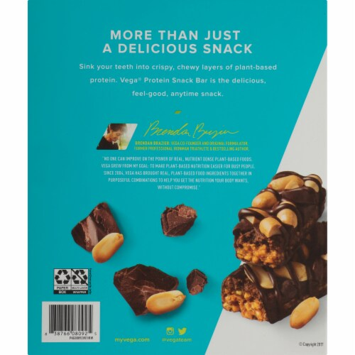 Vega Chocolate Peanut Butter Protein Snack Bars Perspective: back
