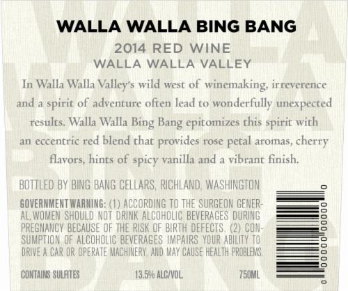 Walla Walla Bing Bang Red Blend Perspective: back