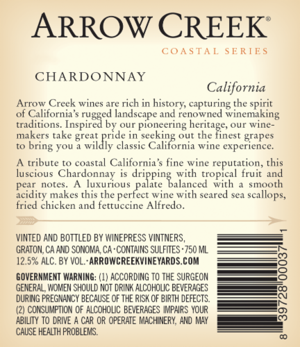 Arrow Creek Chardonnay Perspective: back