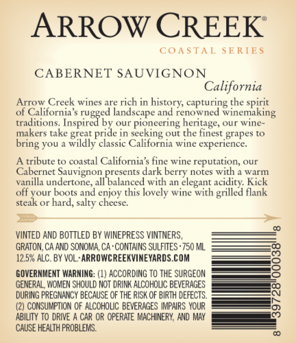 Arrow Creek Cabernet Sauvignon Perspective: back