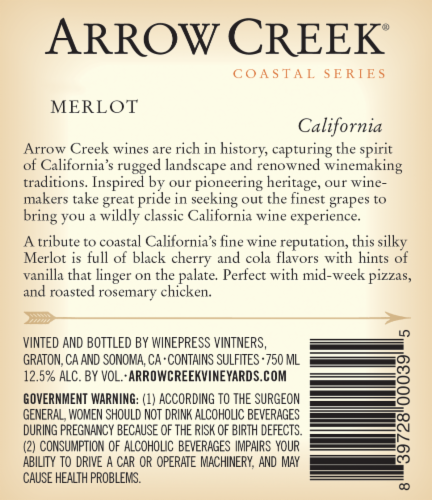 Arrow Creek Merlot Perspective: back