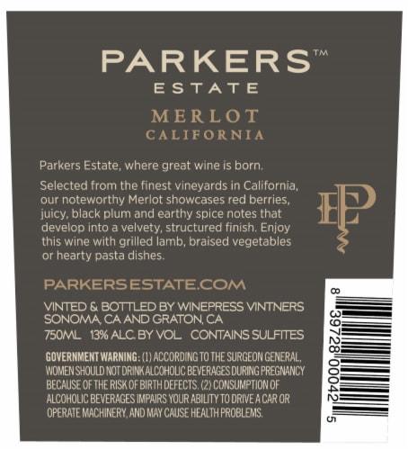 Parkers Estate Merlot Perspective: back