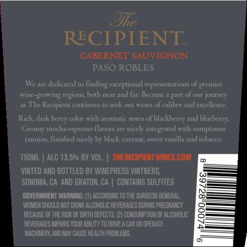 The Recipient Cabernet Sauvignon Perspective: back