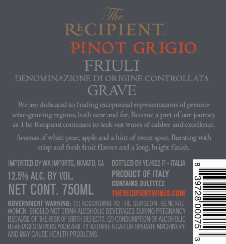 The Recipient Pinot Grigio Perspective: back