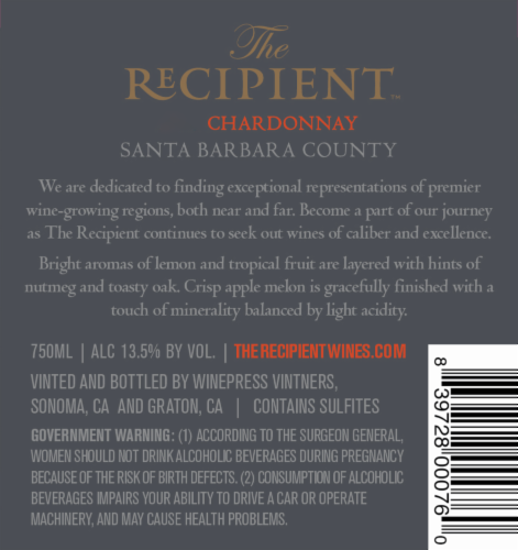 The Recipient Chardonnay Perspective: back