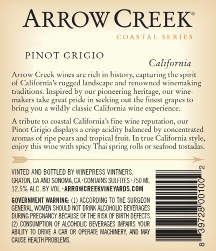 Arrow Creek Pinot Grigio Perspective: back