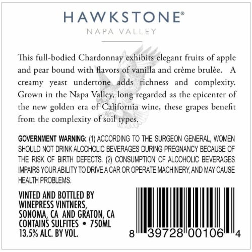 Hawkstone Chardonnay Perspective: back