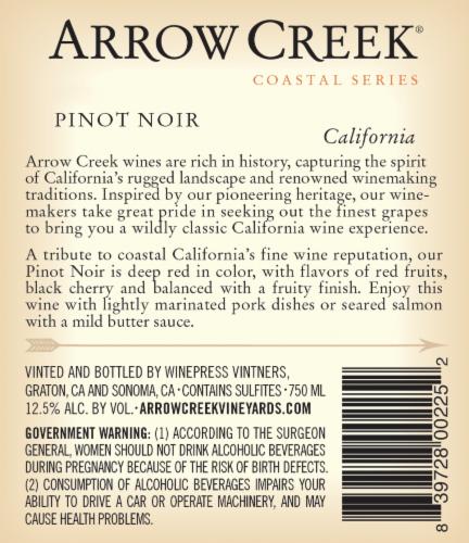 Arrow Creek Pinot Noir Perspective: back