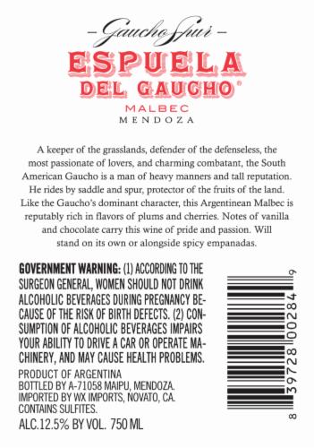 Espuela Del Gaucho Malbec Perspective: back
