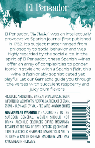 El Pensador Garnacha Red Wine Perspective: back