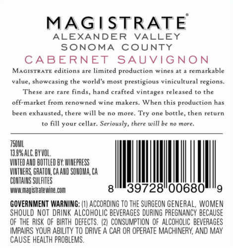 Magistrate Reserve Cabernet Sauvignon Perspective: back