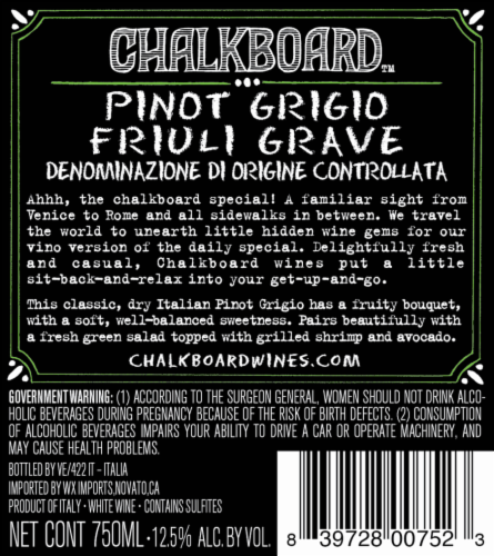 Chalkboard Pinot Grigio Perspective: back