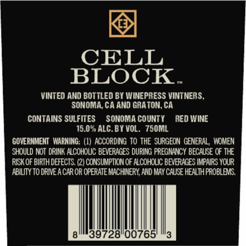 Cell Block Shackled Red Blend Perspective: back
