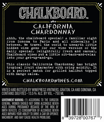 Chalkboard Chardonnay Perspective: back