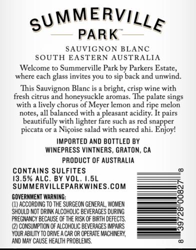 Summerville Park Sauvignon Blanc Perspective: back