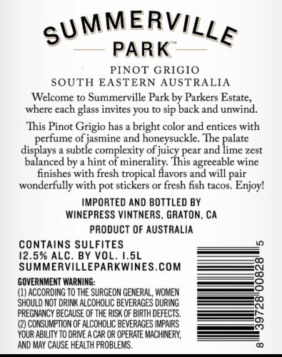 Summerville Park Pinot Grigio Perspective: back