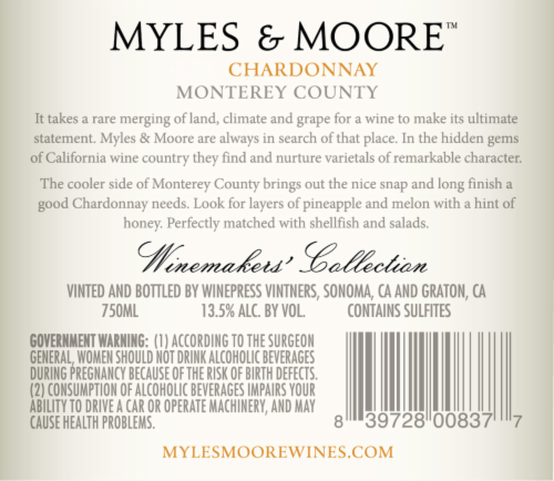 Myles and More Chardonnay Perspective: back