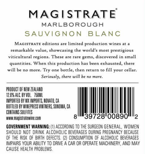 Magistrate New Zealand Sauvignon Blanc Perspective: back