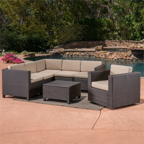 Puerta 6 Seater Wicker V-Shaped Sofa and Swivel Chair Set - Beige Cushions Perspective: back