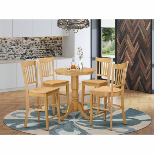 EDGR5-OAK-W 5 Pcpub Table set - Small Table and 4 counter height Dining chair. Perspective: back